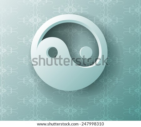Yin yang symbol on a blue background. Vector. - stock vector