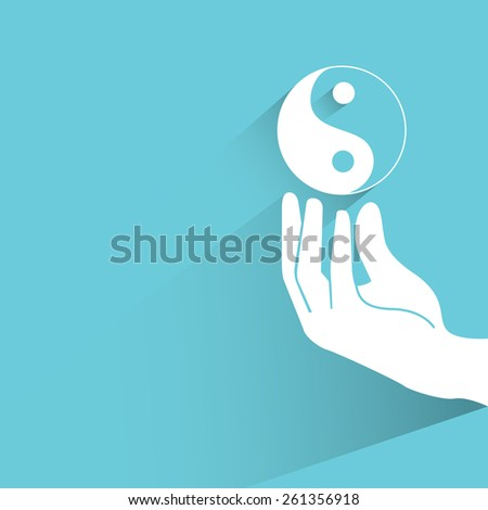 yin yang symbol on blue background, flat and shadow theme - stock vector