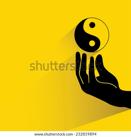 yin yang symbol on yellow background, flat and shadow theme - stock vector