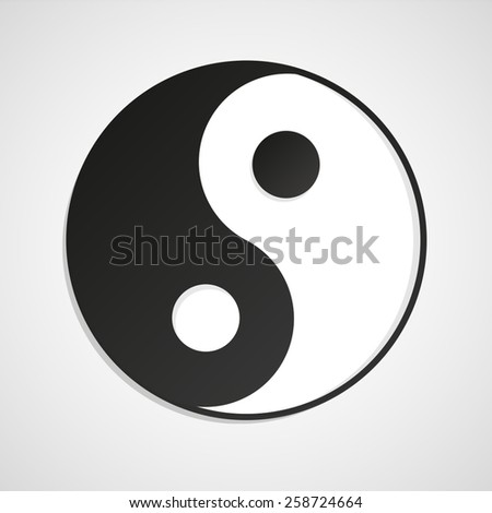 Yin Yang symbol sign abstract asian icon vector - stock vector