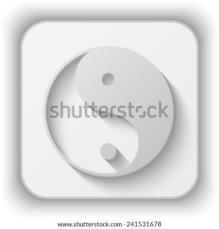 yin yang symbol vector icon - paper button  - stock vector