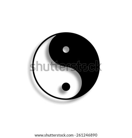 yin yang symbol vector icon with shadow - stock vector