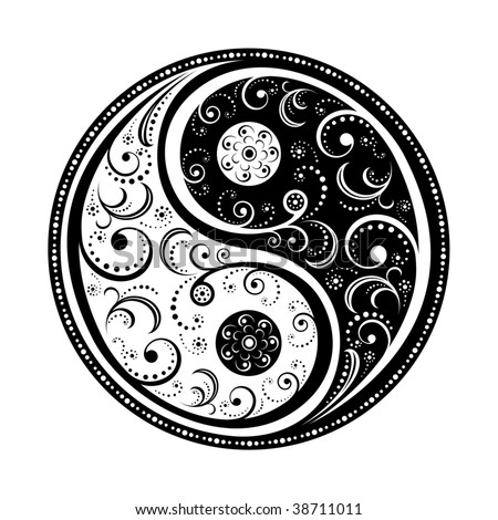 Yin Yang Symbol vector illustration. EPS8, all parts closed, possibility to edit. - stock vector