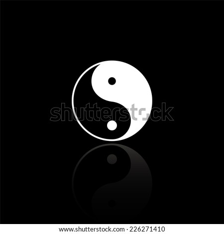 Yin yang symbol - vector illustration with reflection isolated on black - stock vector
