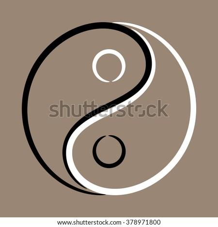 Yin Yang symbol vignette - stock vector