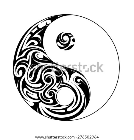 Yin yang symbol with decorative ornament - stock vector