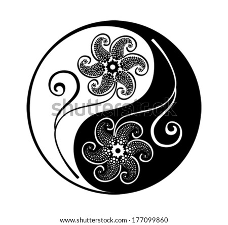 Yin yang symbol with patterned flowers, vector - stock vector