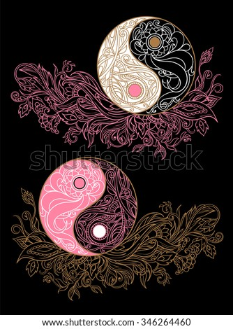 Yin yang symbols as an allegory of opposites and philosophy of life on a black background - stock vector
