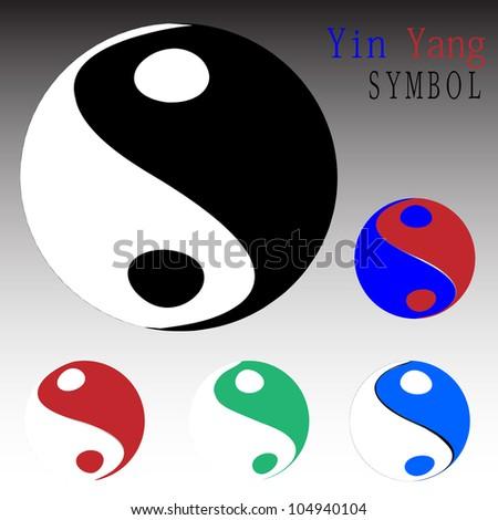 Yin yang symbols set - stock vector