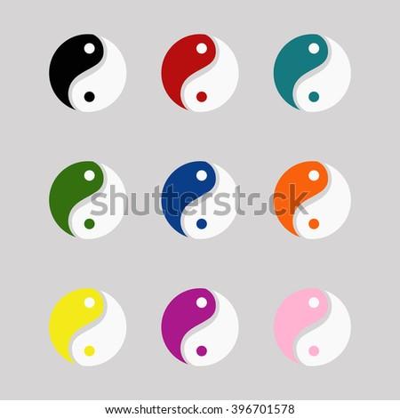 Yin yang symbols set colorful vector icons eps 10 - stock vector