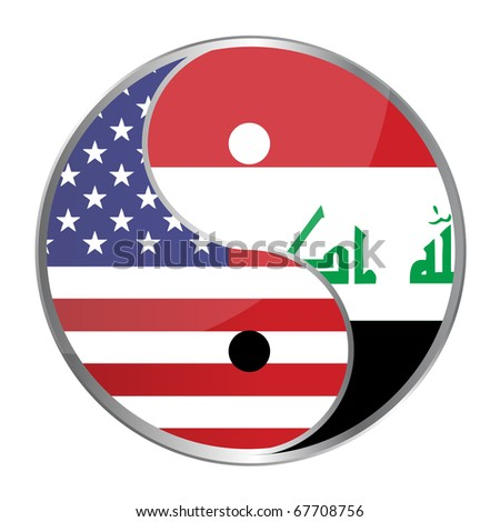 Ying yan symbol with the American and Iraqi flags. Vector File Available / Ying Yan - stock vector