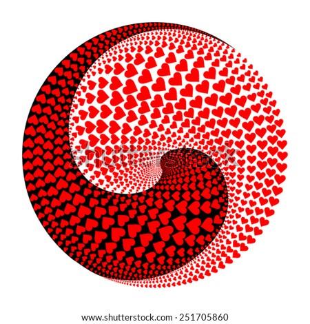 ying yang circle made of hearts - stock vector