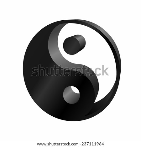 Ying-yang icon 3D on white background - stock vector