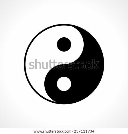 Ying-yang icon on white background - stock vector