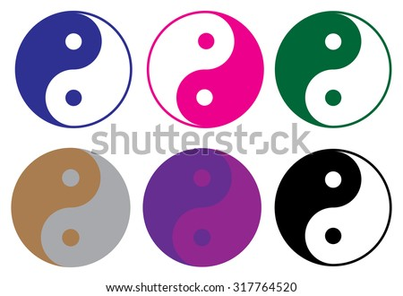 Ying Yang icons set - stock vector