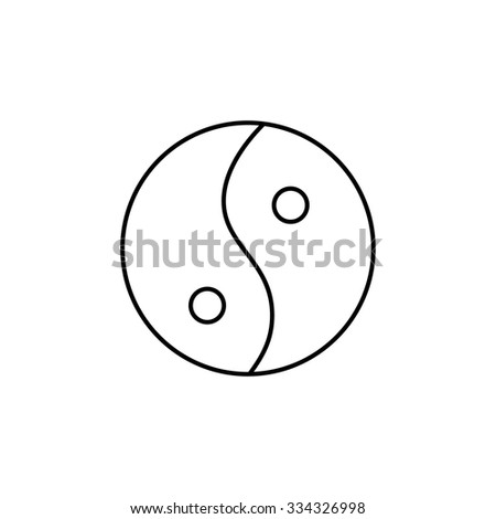 Ying yang linear black icon symbol of harmony and balance on white background | flat design alternative healing illustration and infographic - stock vector