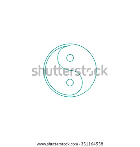 Ying-yang Outline vector icon on white. Line symbol pictogram