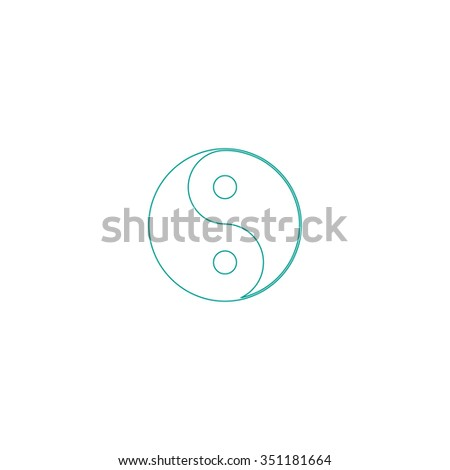 Ying yang Outline vector icon on white. Line symbol pictogram