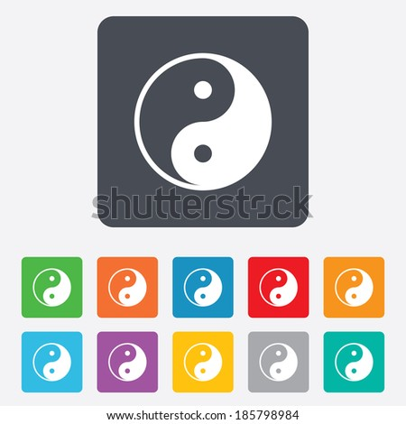 Ying yang sign icon. Harmony and balance symbol. Rounded squares 11 buttons. Vector - stock vector