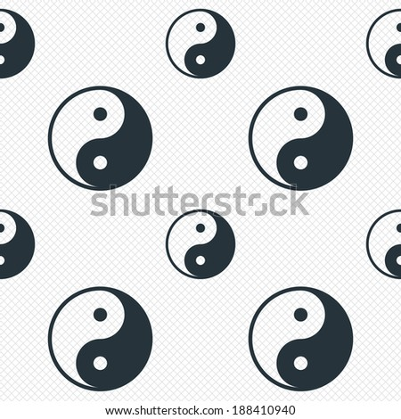 Ying yang sign icon. Harmony and balance symbol. Seamless grid lines texture. Cells repeating pattern. White texture background. Vector - stock vector