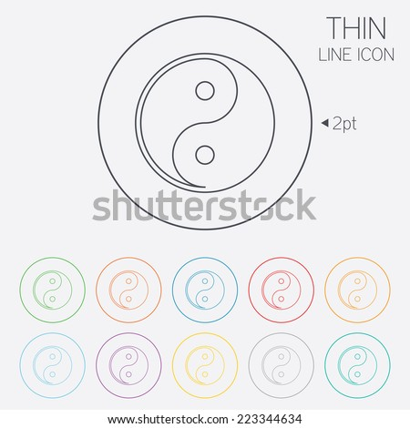 Ying yang sign icon. Harmony and balance symbol. Thin line circle web icons with outline. Vector - stock vector