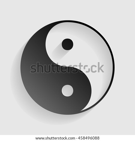 Ying yang symbol of harmony and balance. Black paper with shadow on gray background. - stock vector