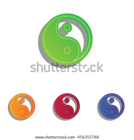Ying yang symbol of harmony and balance. Colorfull applique icons set. - stock vector