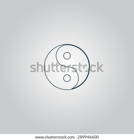 Ying yang symbol of harmony and balance. Flat web icon or sign isolated on grey background. Collection modern trend concept design style vector illustration pictogram - stock vector