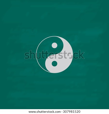 Ying yang symbol of harmony and balance. Icon. Imitation draw with white chalk on green chalkboard. Flat Pictogram and School board background. Vector illustration symbol - stock vector
