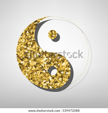 Ying yang symbol of harmony and balance  illustration. Golden icon - stock vector