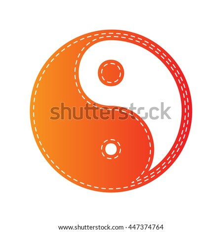 Ying yang symbol of harmony and balance. Orange applique isolated. - stock vector