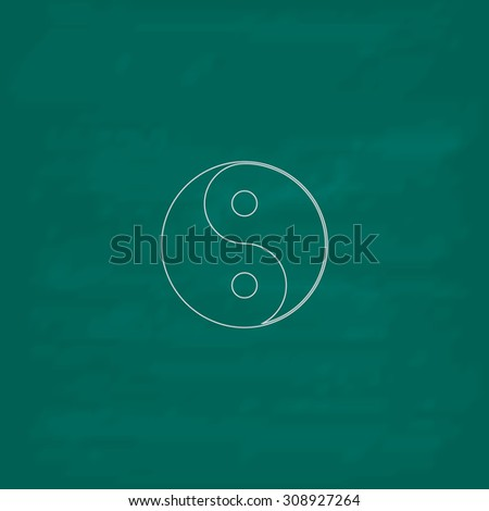 Ying yang symbol of harmony and balance. Outline vector icon. Imitation draw with white chalk on green chalkboard. Flat Pictogram and School board background. Illustration symbol - stock vector