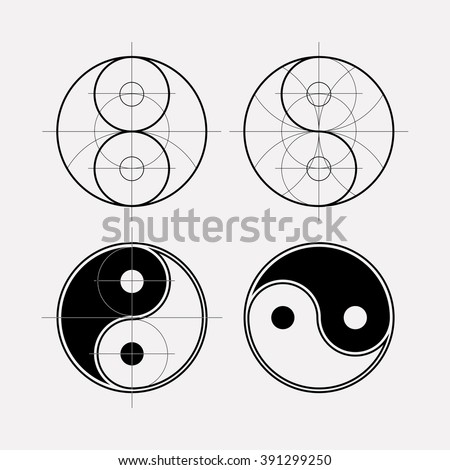 Ying yang symbol of harmony and balance. Sacred geometry. Line geometric ornament on the eastern esoteric symbols. - stock vector