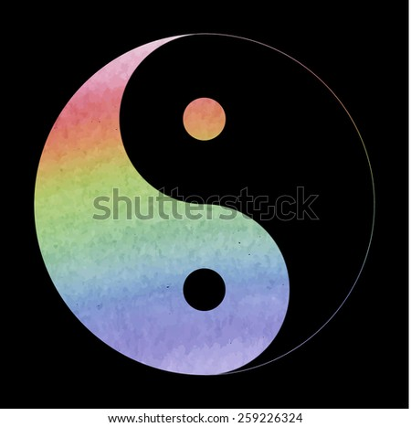Ying yang symbol of harmony and balance. Watercolor effect - stock vector