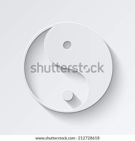 Ying yang symbol - paper vector illustration with shadow on light background - stock vector