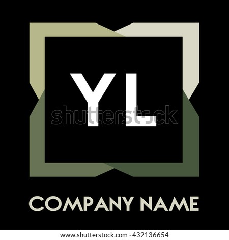 YL letters business logo creative  icon design template elements in abstract background logo, design identity in square with four colors, modern alphabet letters