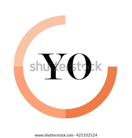 YO business logo icon design template elements. Orange color vectors. Design identity in circle. Alphabet letter - stock vector