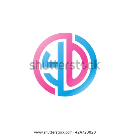 YO initial letters looping linked circle logo pink blue - stock vector