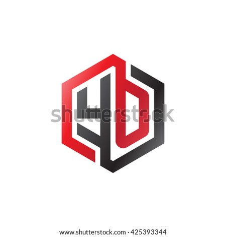 YO initial letters looping linked hexagon logo red black - stock vector