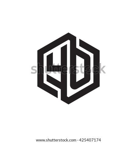 YO initial letters looping linked hexagon monogram logo - stock vector