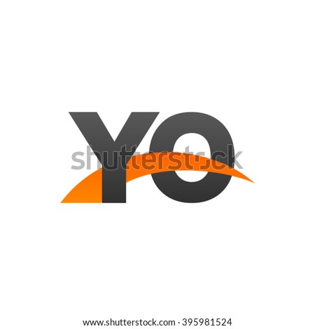 YO initial overlapping swoosh letter logo black orange - stock vector