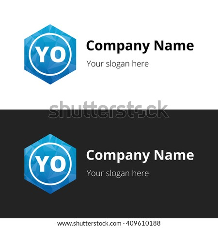 YO Letters , Abstract Polygonal Background Logo, design for Corporate Business Identity, Alphabet letter - stock vector