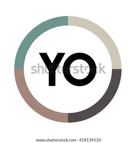 YO letters, four colors in abstract background logo, design identity in circle, alphabet letter - stock vector