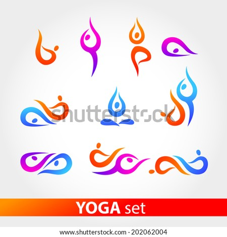 Yoga - a set. Figures in various poses on a white background. Vector series. - stock vector