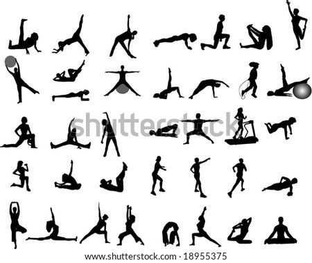 yoga and exercise silhouettes - stock vector
