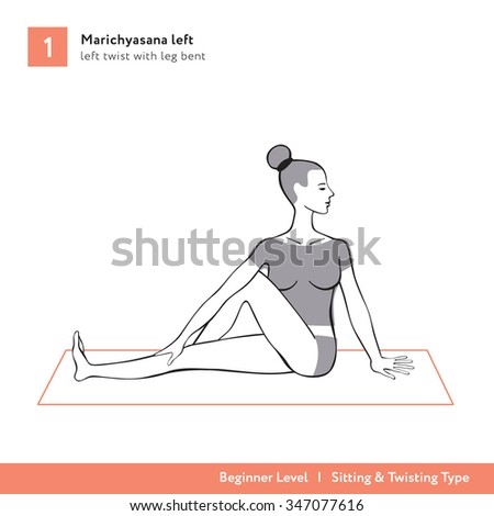 Yoga Asana Marichyasana Left Twist With Leg Bent