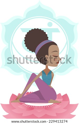 Yoga Asana Posture Practice with Svadisthana Chakra Symbol Mandala Backround, vector illustration. With woman sitting on Pink Lotus. - stock vector