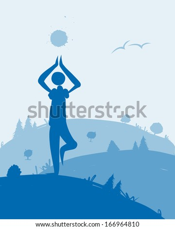 Yoga at dawn, landscape for your design - stock vector