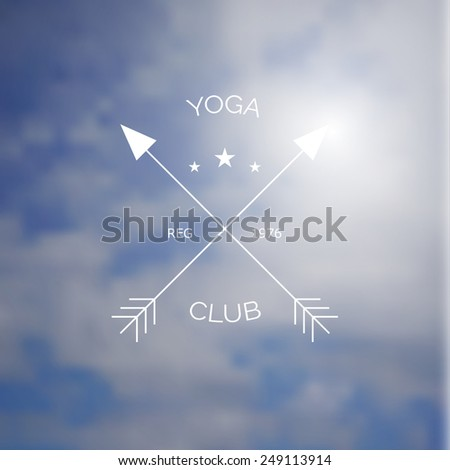 Yoga club logo on blurry photo of sky as a background. Vector design with gradient mesh. - stock vector