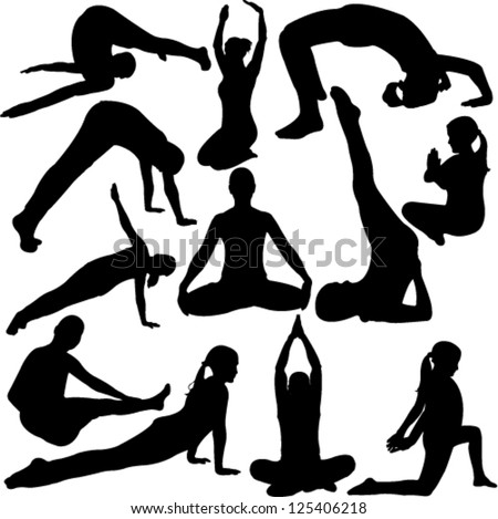 yoga collection - vector - stock vector